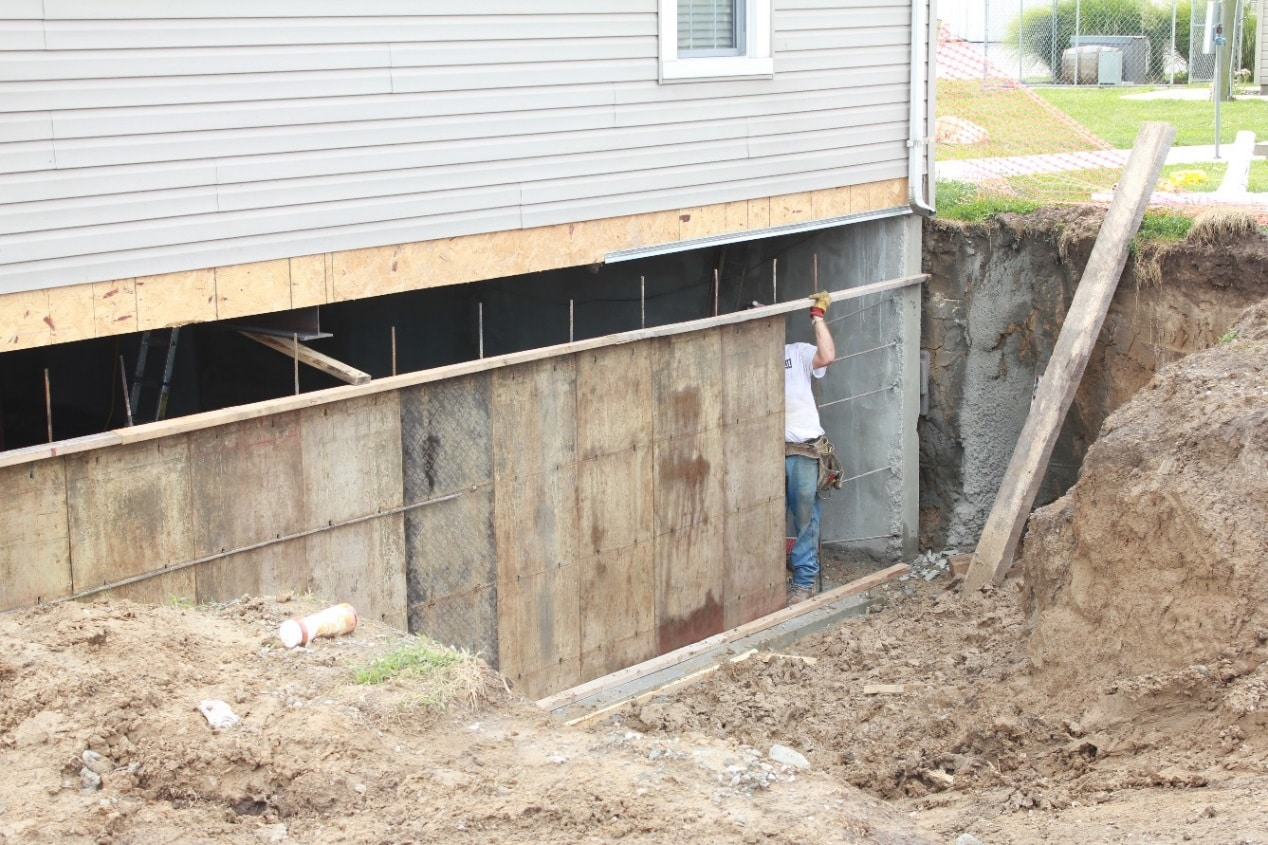 Foundation Rebuild And Waterproofing Install In Columbia Il