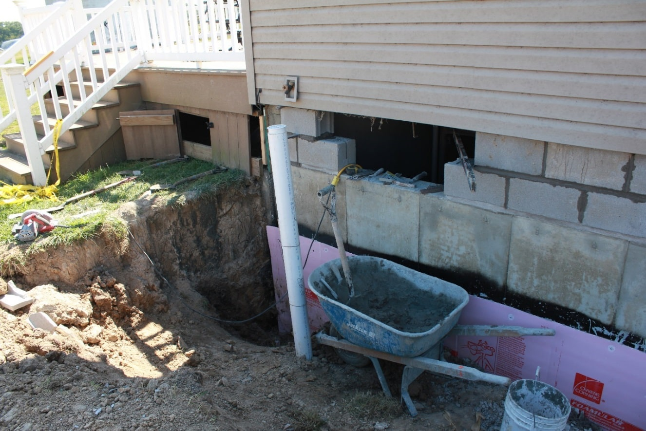 Waterproofing Existing Foundation Walls : Foundation rebuild and waterproofing install in columbia